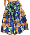 Sakkas Celine African Dutch Ankara Wax Print Full Circle Skirt#color_2280-Blue / Green