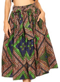 Sakkas Celine African Dutch Ankara Wax Print Full Circle Skirt#color_2281-Brown / Blue