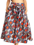 Sakkas Celine African Dutch Ankara Wax Print Full Circle Skirt#color_2283-White / Rose