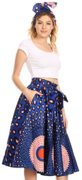 Sakkas Celine African Dutch Ankara Wax Print Full Circle Skirt#color_23-Multi