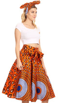 Sakkas Celine African Dutch Ankara Wax Print Full Circle Skirt#color_24-Multi