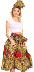 Sakkas Celine African Dutch Ankara Wax Print Full Circle Skirt#color_25-Multi