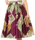 Sakkas Celine African Dutch Ankara Wax Print Full Circle Skirt#color_3-PurpleMulti