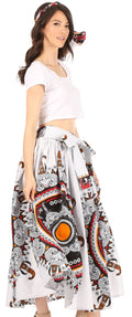 Sakkas Celine African Dutch Ankara Wax Print Full Circle Skirt#color_302-Multi