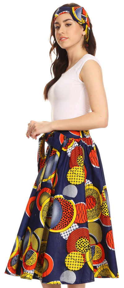 group-306-OrangeMulti (Sakkas Celine African Dutch Ankara Wax Print Full Circle Skirt)