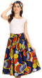 Sakkas Celine African Dutch Ankara Wax Print Full Circle Skirt#color_306-OrangeMulti