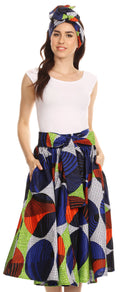 Sakkas Celine African Dutch Ankara Wax Print Full Circle Skirt#color_307-BlueMulti