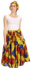 Sakkas Celine African Dutch Ankara Wax Print Full Circle Skirt#color_312-YellowMulti