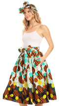 Sakkas Celine African Dutch Ankara Wax Print Full Circle Skirt#color_40-Multi