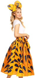 Sakkas Celine African Dutch Ankara Wax Print Full Circle Skirt#color_403-Multi
