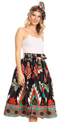 Sakkas Celine African Dutch Ankara Wax Print Full Circle Skirt#color_41-BlackTeal