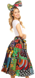 Sakkas Celine African Dutch Ankara Wax Print Full Circle Skirt#color_421-Multi
