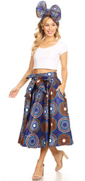 Sakkas Celine African Dutch Ankara Wax Print Full Circle Skirt#color_423-BlueMulti
