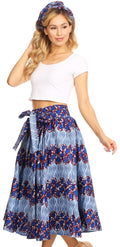 Sakkas Celine African Dutch Ankara Wax Print Full Circle Skirt#color_45-Multi