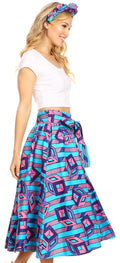 Sakkas Celine African Dutch Ankara Wax Print Full Circle Skirt#color_46-Multi