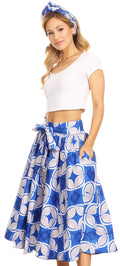 Sakkas Celine African Dutch Ankara Wax Print Full Circle Skirt#color_47-Multi