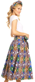 Sakkas Celine African Dutch Ankara Wax Print Full Circle Skirt#color_48-Multi