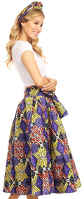 Sakkas Celine African Dutch Ankara Wax Print Full Circle Skirt#color_49-Multi