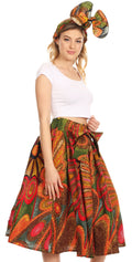 Sakkas Celine African Dutch Ankara Wax Print Full Circle Skirt#color_501-Multi
