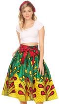 Sakkas Celine African Dutch Ankara Wax Print Full Circle Skirt#color_51-Multi