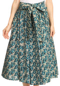 Sakkas Celine African Dutch Ankara Wax Print Full Circle Skirt#color_516-MintTurq