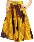 Sakkas Celine African Dutch Ankara Wax Print Full Circle Skirt#color_517-YellowNavy