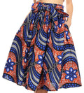 Sakkas Celine African Dutch Ankara Wax Print Full Circle Skirt#color_51B-BlueMulti