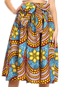 Sakkas Celine African Dutch Ankara Wax Print Full Circle Skirt#color_51T-BlueBurgandyRoyal