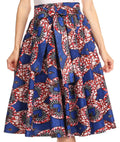 Sakkas Celine African Dutch Ankara Wax Print Full Circle Skirt#color_526-WhiteMulti