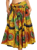 Sakkas Celine African Dutch Ankara Wax Print Full Circle Skirt#color_527-YellowMulti
