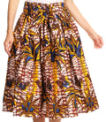 Sakkas Celine African Dutch Ankara Wax Print Full Circle Skirt#color_528-White/Yellow