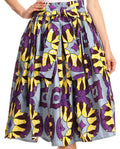 Sakkas Celine African Dutch Ankara Wax Print Full Circle Skirt#color_529-DustyBlueMulti