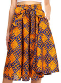 Sakkas Celine African Dutch Ankara Wax Print Full Circle Skirt#color_52B-OrangeBlueMulti