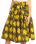 Sakkas Celine African Dutch Ankara Wax Print Full Circle Skirt#color_52Y-YellowMulti