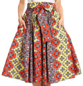Sakkas Celine African Dutch Ankara Wax Print Full Circle Skirt#color_530-YellowRed