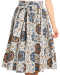 Sakkas Celine African Dutch Ankara Wax Print Full Circle Skirt#color_531-White