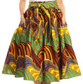 Sakkas Celine African Dutch Ankara Wax Print Full Circle Skirt#color_532-OliveMulti