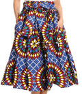 Sakkas Celine African Dutch Ankara Wax Print Full Circle Skirt#color_533-BlueMulti
