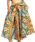 Sakkas Celine African Dutch Ankara Wax Print Full Circle Skirt#color_535-Teal / Orange