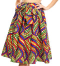 Sakkas Celine African Dutch Ankara Wax Print Full Circle Skirt#color_53B-YellowGreenMulti