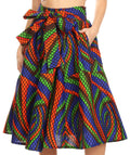 Sakkas Celine African Dutch Ankara Wax Print Full Circle Skirt#color_54G-BlueRedGreenMulti