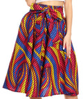 Sakkas Celine African Dutch Ankara Wax Print Full Circle Skirt#color_54R-RoyalRaspYellow