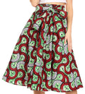 Sakkas Celine African Dutch Ankara Wax Print Full Circle Skirt#color_55R-RedGreenMulti