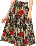 Sakkas Celine African Dutch Ankara Wax Print Full Circle Skirt#color_6-BlackRed