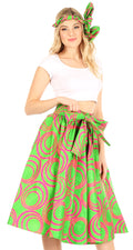 Sakkas Celine African Dutch Ankara Wax Print Full Circle Skirt#color_66-FuschGreen