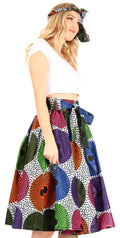 Sakkas Celine African Dutch Ankara Wax Print Full Circle Skirt#color_67-Multi