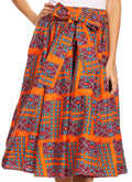 Sakkas Celine African Dutch Ankara Wax Print Full Circle Skirt#color_8-Orange/turq