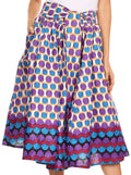 Sakkas Celine African Dutch Ankara Wax Print Full Circle Skirt#color_8-WhitePurple