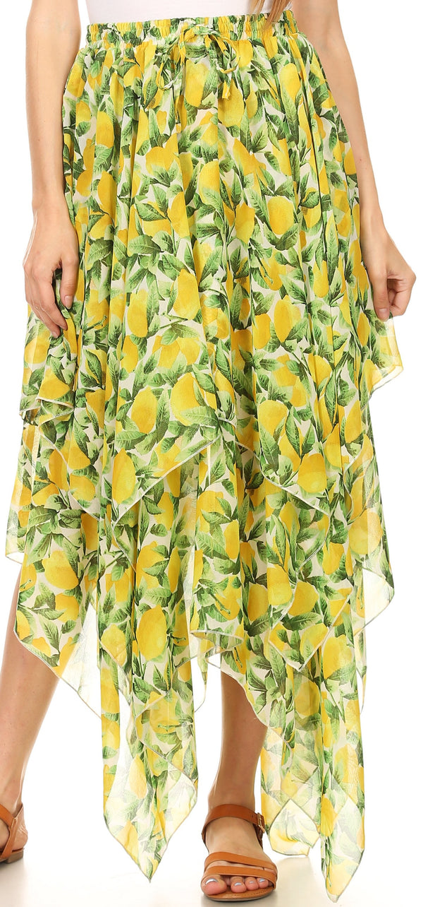 Sakkas Aina Cascading Handkerchief Dance Maxi Skirt with Adjustable Elastic Waist#color_Green/yellow lemon