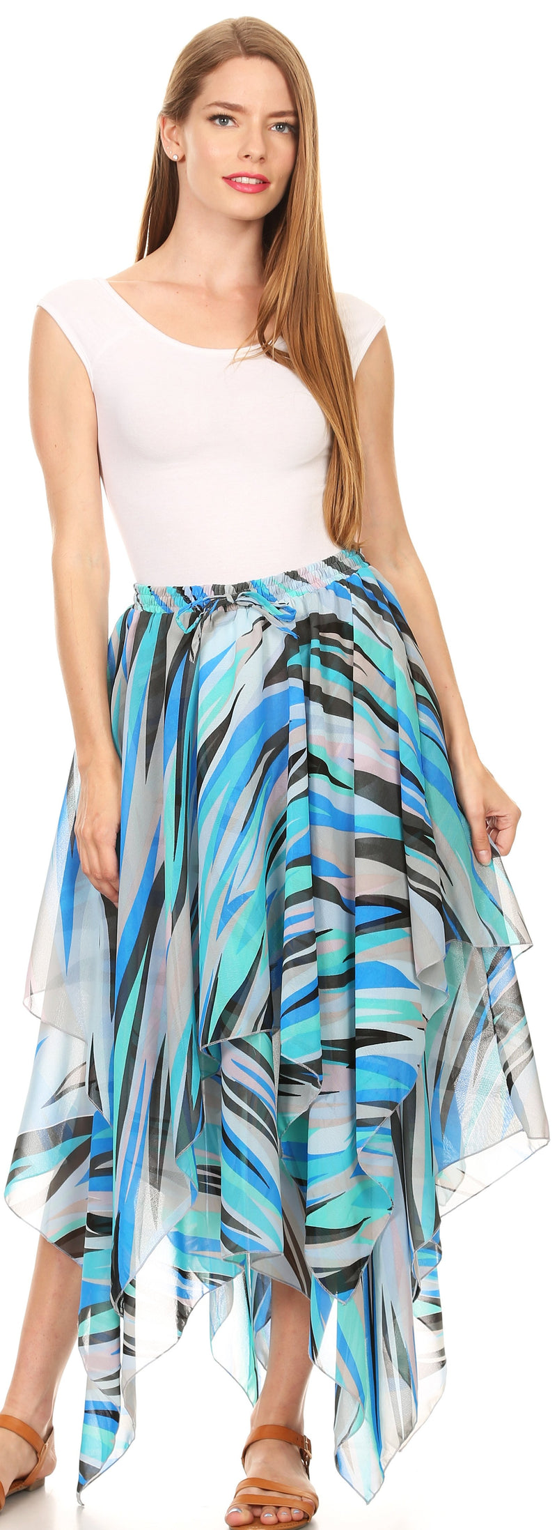 Sakkas Aina Cascading Handkerchief Dance Maxi Skirt with Adjustable Elastic Waist